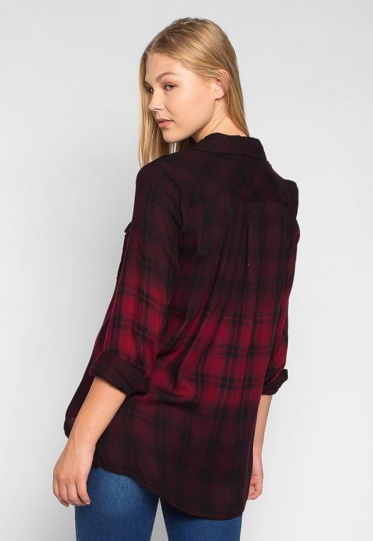 Lucky Girl Ombre Plaid Henley Shirt alternate img #2