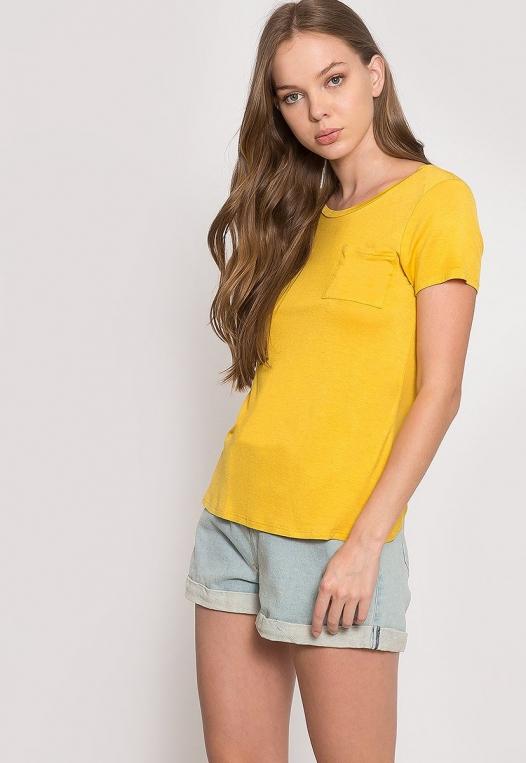 Oregon Oversized V-Neck Pocket Tee in Yellow alternate img #5