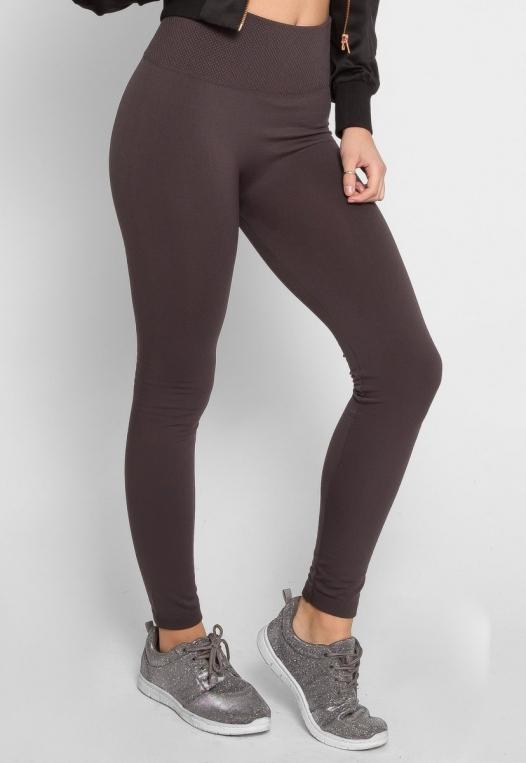 Cozy Fleece Lined Leggings in Gray alternate img #3