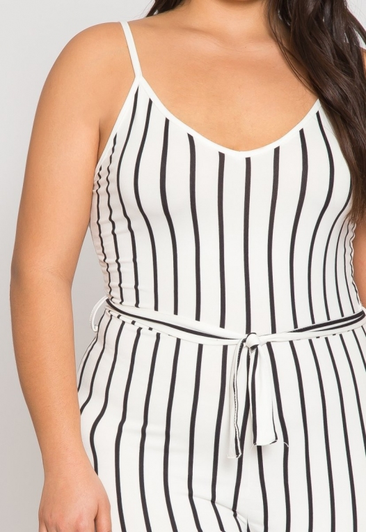 Plus Size Dazzling Stripe Jumpsuit in White alternate img #6