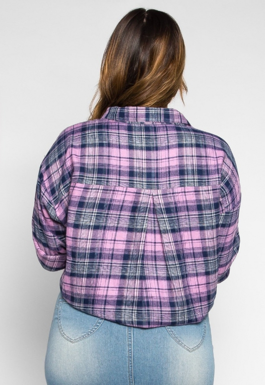 Plus Size Hemlock Knot Waist Plaid Shirt alternate img #2