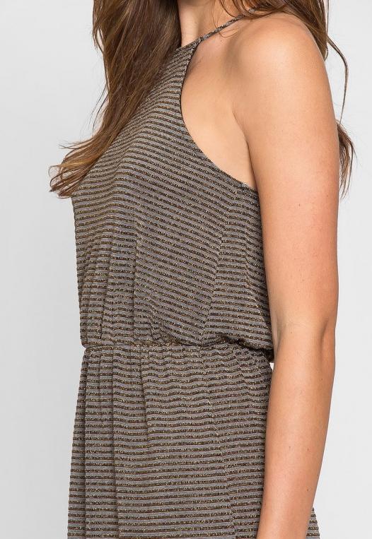 Gina Metallic Striped Maxi Dress alternate img #6