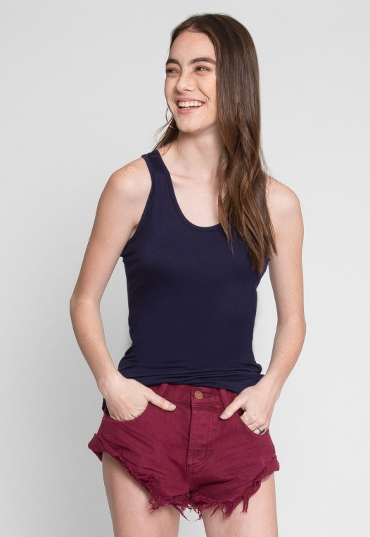 Cheap Thrills Basic Soft Racerback Tank Top in Navy alternate img #1