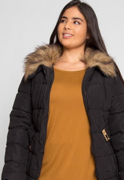 Plus Size Luxurious Faux Fur Trim Jacket in Black alternate img #5