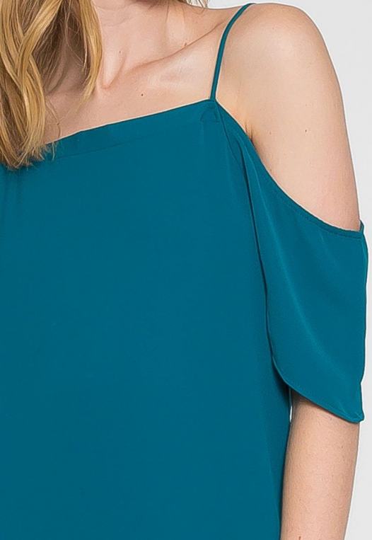 Reveal Cold Shoulder Maxi Dress in Teal alternate img #6