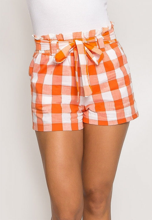 Gingham Plaid Paperbag Shorts in Orange alternate img #1
