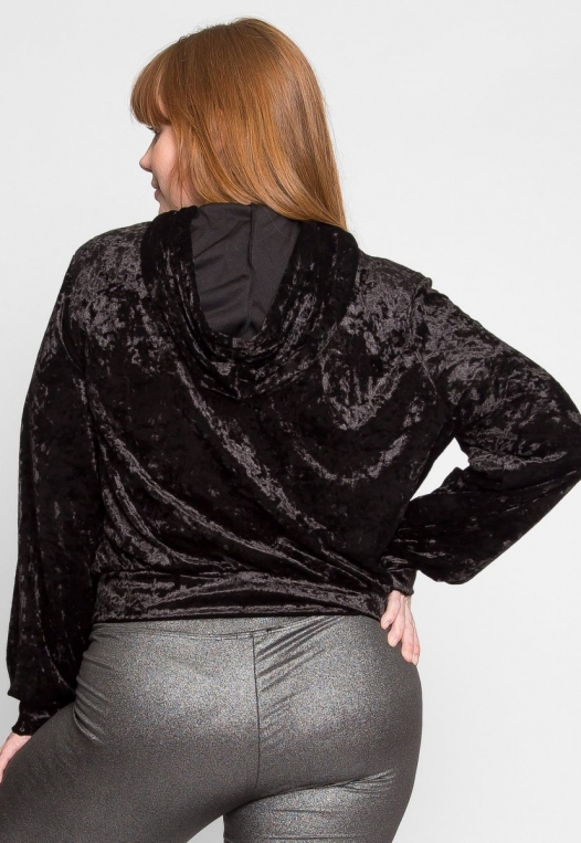 Plus Size Unpredictable Crop Hoodie in Black alternate img #4