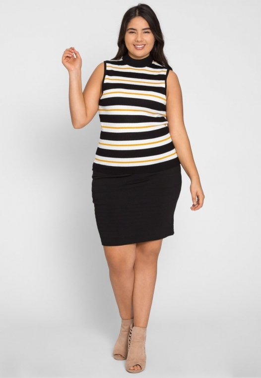 Plus Size Charger Knit Stripe Top in Yellow alternate img #4
