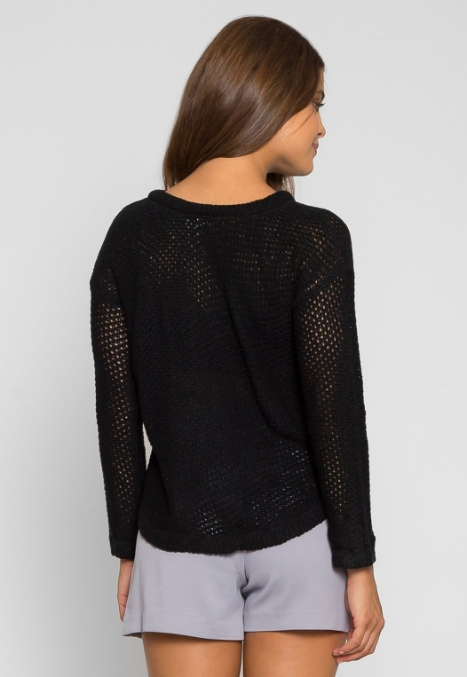 April Lace Up Sweater in Black alternate img #2