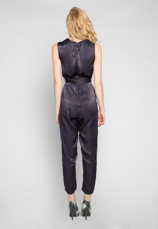Young & Beautiful Wrap Belted Jumpsuit in Black alternate img #2