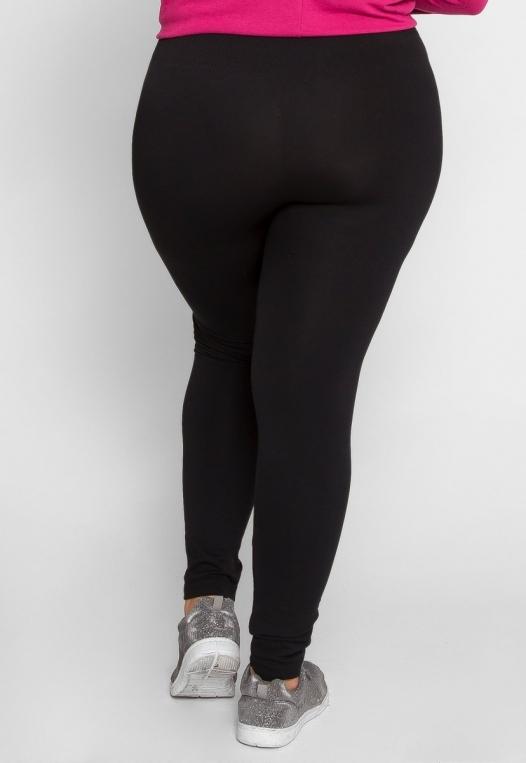 Plus Size High Waist Fleece Leggings in Black alternate img #4