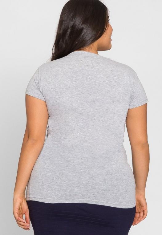 Plus Size Cora V-Neck Tee in Gray alternate img #3