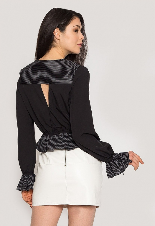 Night Out Surplice Blouse in Black alternate img #2