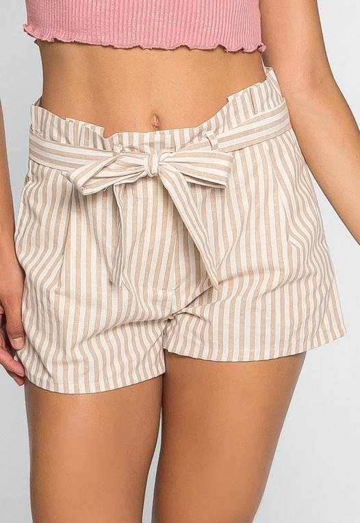 Cappuccino Stripe Paper Waist Shorts alternate img #3
