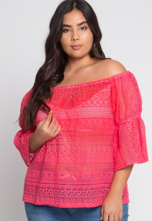 Plus Size Susie Off Shoulder Lace Top in Pink alternate img #2