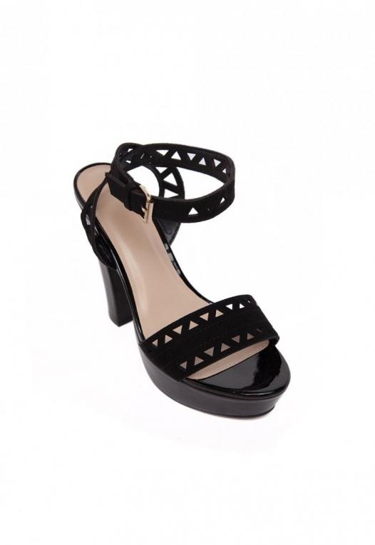 Visions Laser Cut Ankle Heels in Black alternate img #4