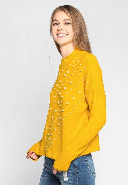 Pearl Embellished Mock Neck Sweater alternate img #3