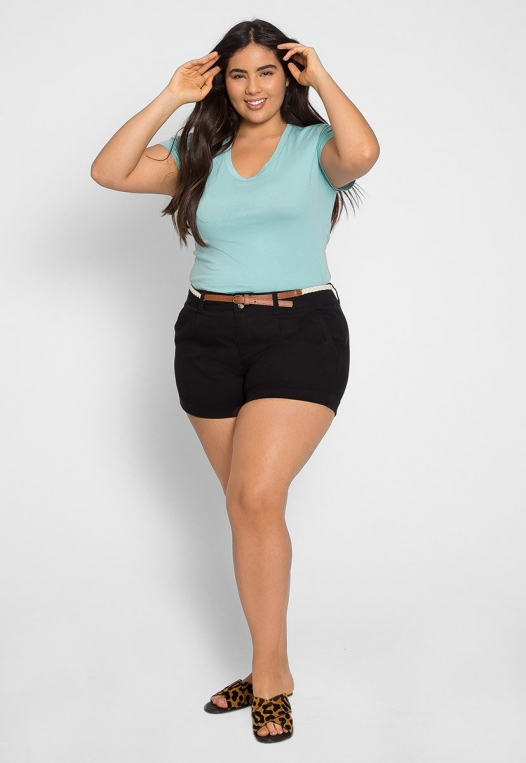 Plus Size Linen Braided Belt Shorts alternate img #5