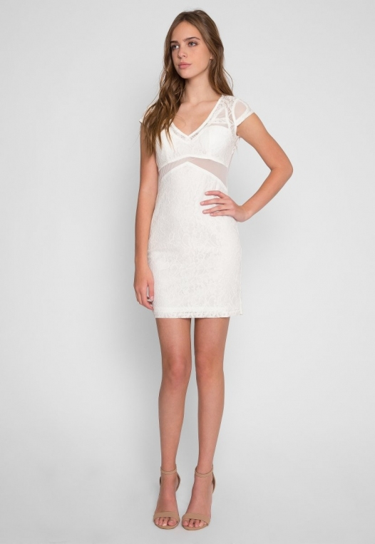 Roe Lace Bodycon Dress in White alternate img #4