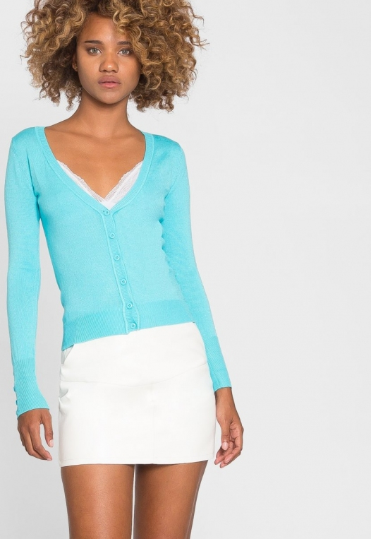 Water Lily V-Neck Cardigan in Aqua alternate img #6