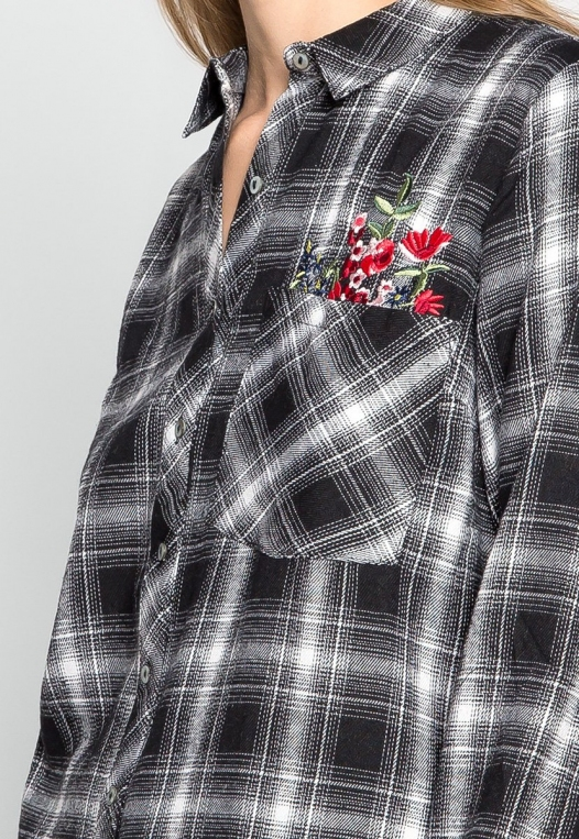 I Don't Care Plaid Embroidered Shirt alternate img #6