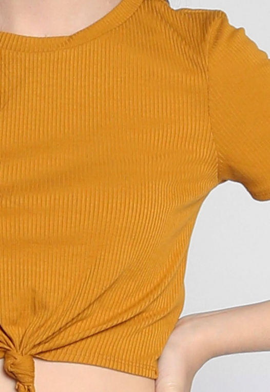 90s Girls Knot Front Crop Top in Mustard alternate img #6