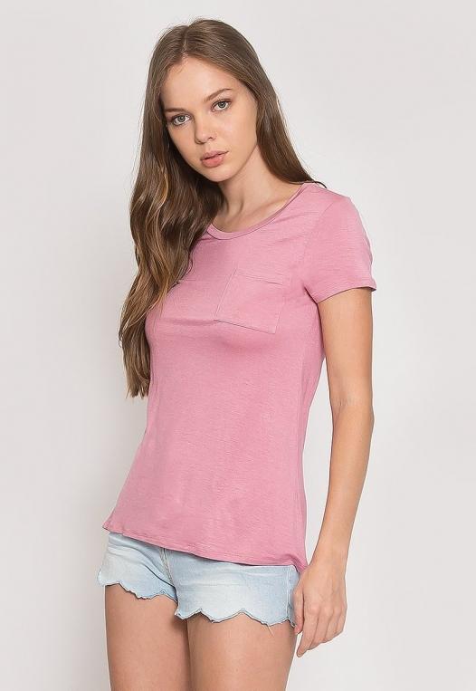 Oregon Oversized V-Neck Pocket Tee in Pink alternate img #3