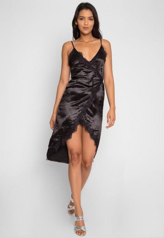 Mercury Satin Wrap Dress in Black alternate img #2