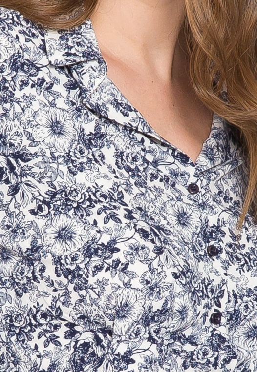 Outcast Floral Crop Button Up Shirt in Navy alternate img #8