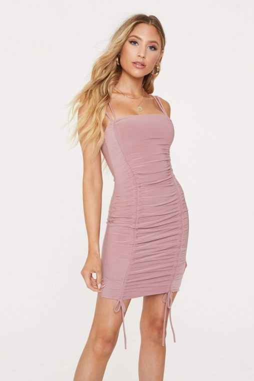 Ruched Tie Mini Dress alternate img #1