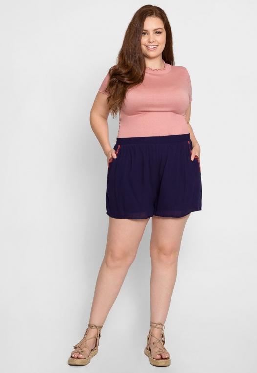 Plus Size Tribal Trim High Waist Shorts alternate img #5