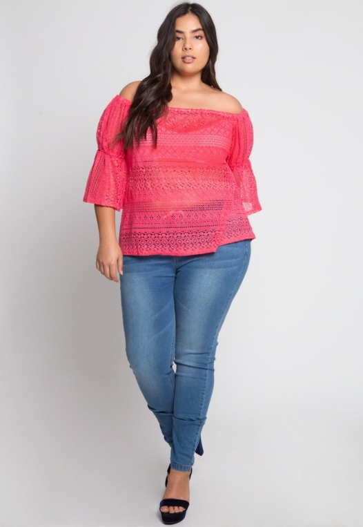 Plus Size Susie Off Shoulder Lace Top in Pink alternate img #4