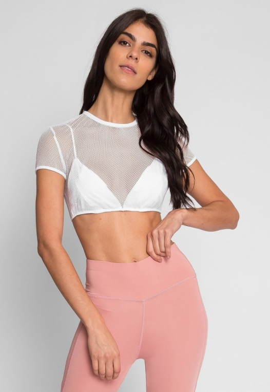 Pilates Mesh Crop Top in White alternate img #2