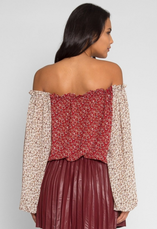 Pembrooke Floral Top in Red alternate img #3