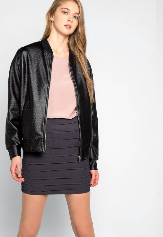 Power Play Faux Leather Bomber Jacket in Black alternate img #1