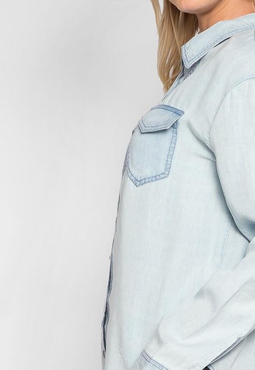 Rewind Lace Up Back Chambray Shirt alternate img #6