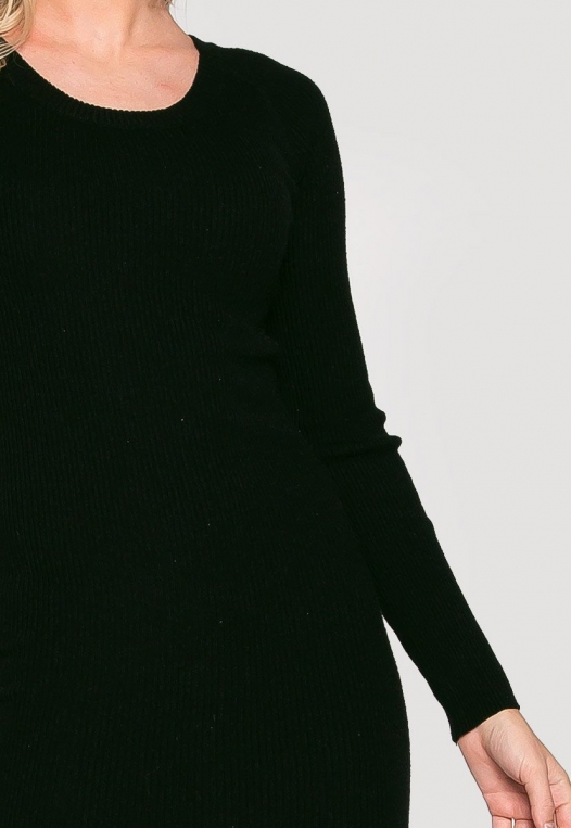 Risky Girl Ribbed Knit Dress in Black alternate img #6