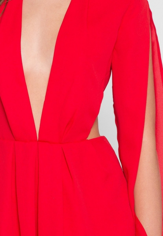 Long Sleeve Cut Out Romper in Red alternate img #6