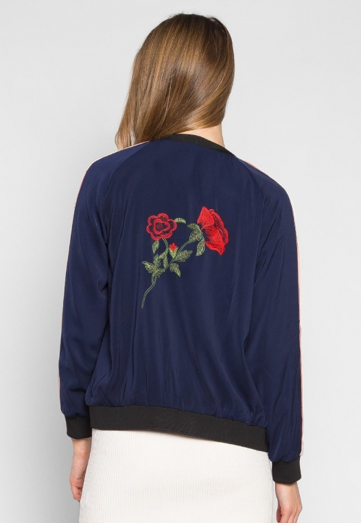 Night Feelings Floral Embroidered Bomber Jacket alternate img #2