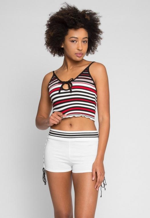 Go Go Stripe Crop Top in Red alternate img #1