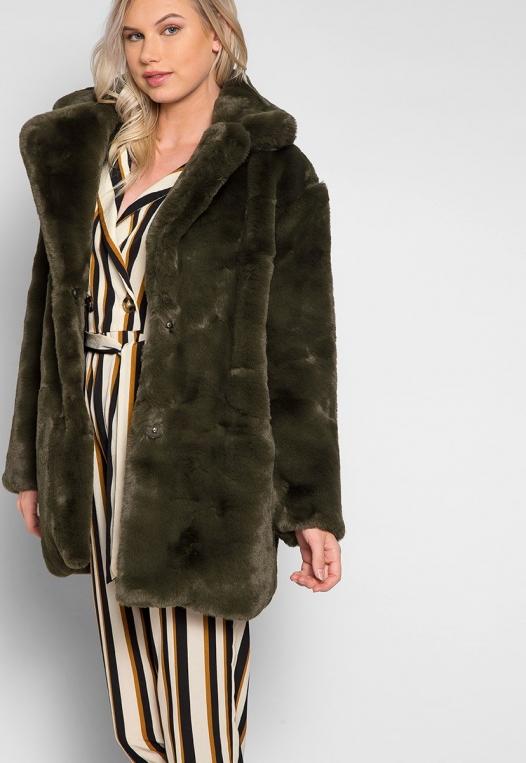 Loving Winter Faux Fur Coat in Green alternate img #5