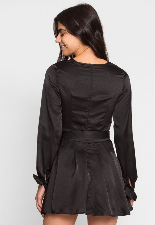 Clean Slate Satin Fit and Flare Dress alternate img #2
