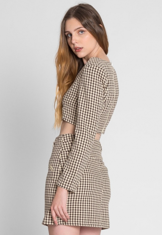 Money Houndstooth Two Piece Set in Brown alternate img #5
