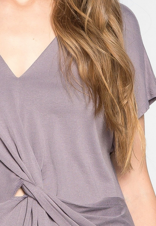 Float on Twisted Front Blouse in Gray alternate img #6