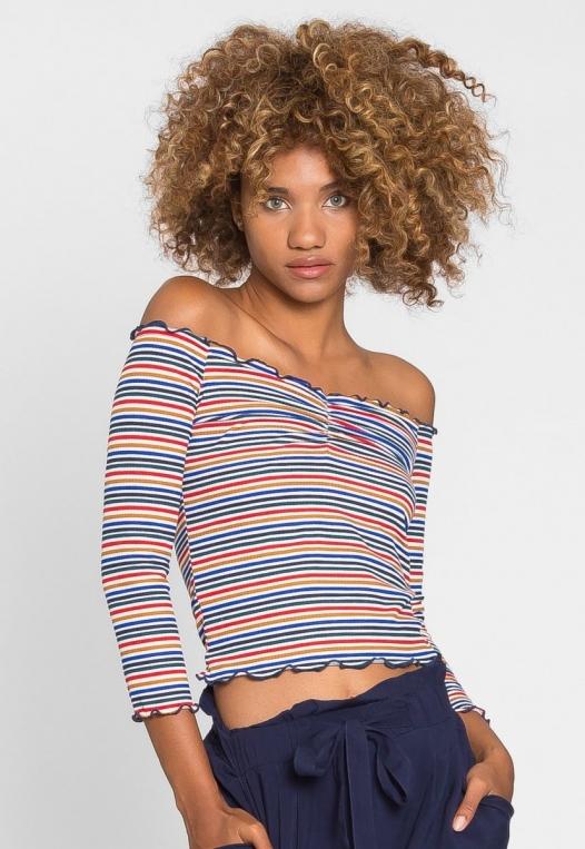 Candy Shop Stripe Off Shoulder Top alternate img #1