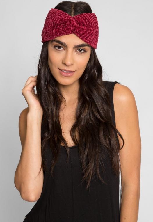 Chenille Headband in Burgundy alternate img #1