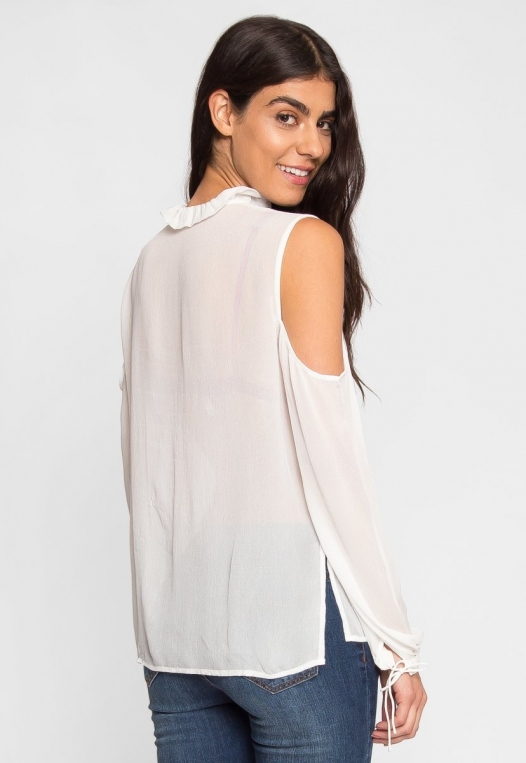 Exquisite Cold Shoulder Ruffle Top alternate img #3