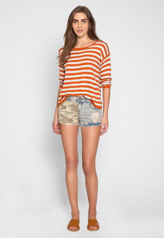 Grand Prize Stripe Sweater Top in Orange alternate img #4