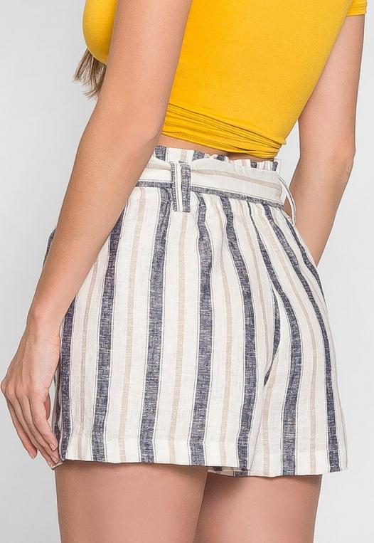 Beach Day Stripe Linen Shorts in Blue alternate img #2