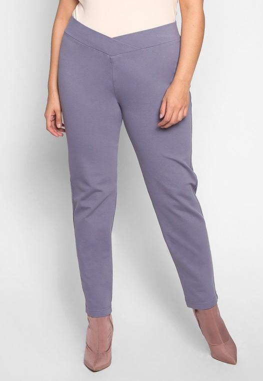 Plus Size Macaroon V-Waist Leggings in Gray alternate img #1